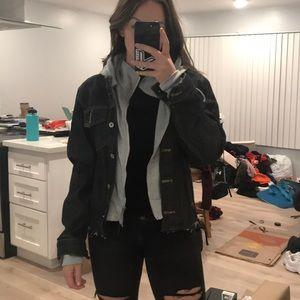 Dark denim jean jacket with built in hoodie